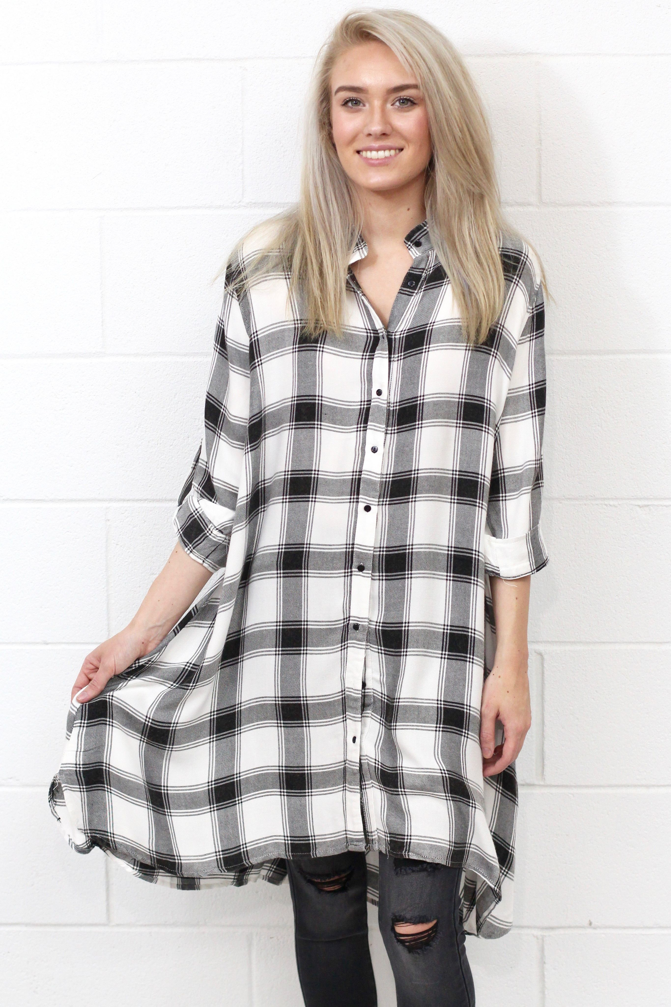Flannel shirt outfits for women  Your Boyfriends Flannel Shirt Dress WhiteBlack  Products
