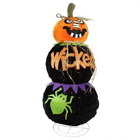 38 inch Lighted Standing Spooky wicked Black Jack-o-Lantern Pumpkin - halloween decorations at walmart