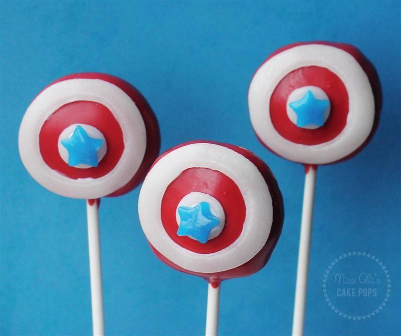 Captain america shield cake pops cake pops captain