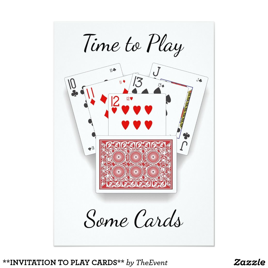 Invitation To Play Cards Invitation Zazzle Com Invitation To Play Playing Card Invitation Family Games To Play
