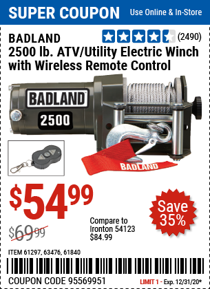 Badland 2500 Lb Atv Utility Winch For 54 99 Harbor Freight Tools Electric Winch Winch