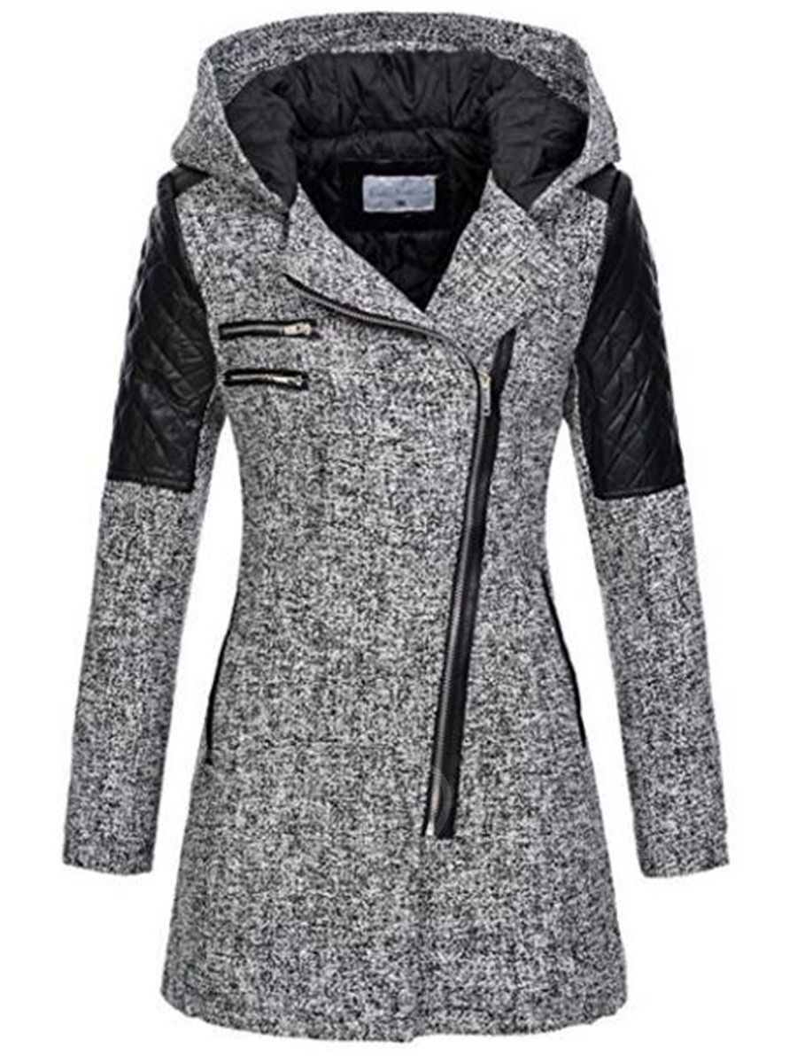 7655e1ee4038 Tbdress.com offers high quality Color Block Hooded Patchwork Zipper Women's  Jacket Jackets unit price of $ 38.99.