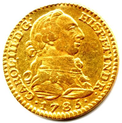 A 1785 Spanish Gold 1 Escudo Doubloon minted in Madrid