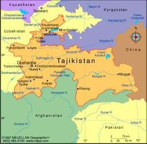 Map showing location of Tajikistan | Reiseziele, Geschichte ...