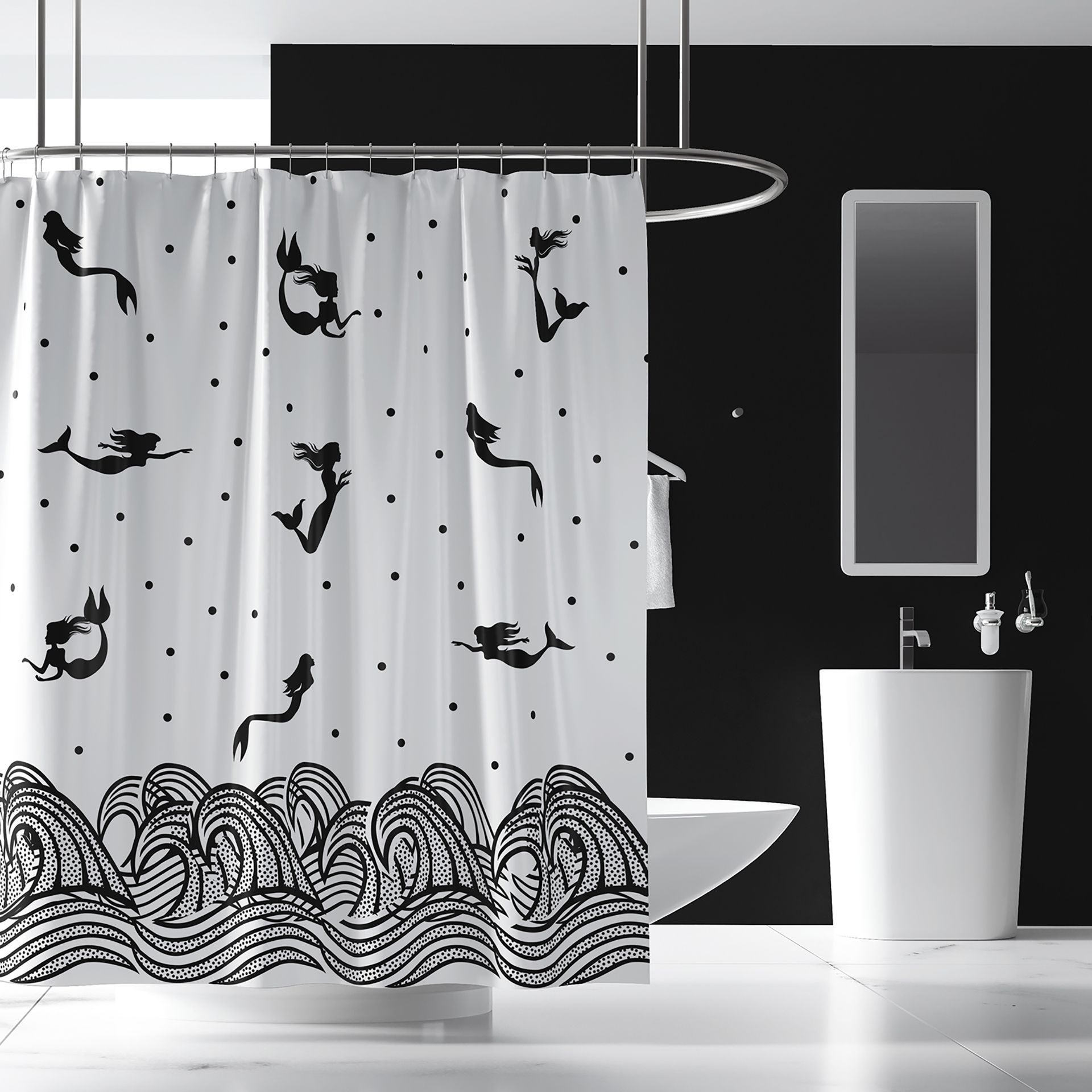 See The Many Faces Of Jane Black White Fabric Mermaid Shower