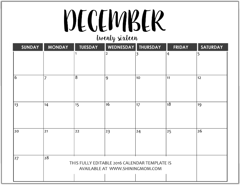download calendar template word