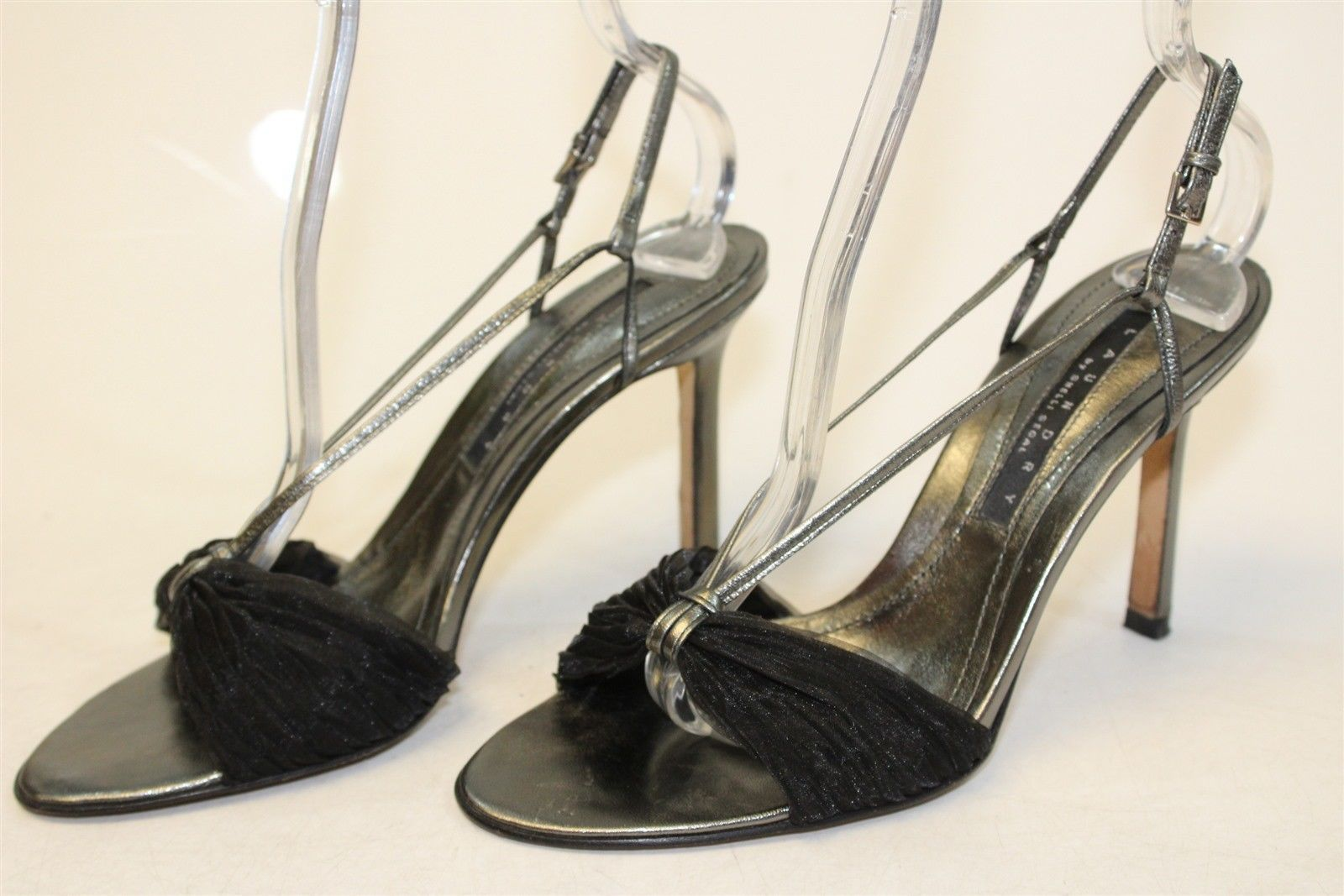 7944b5e1cc0 Laundry Shelli Segal Womens 7 M Black Silver Slingback Stiletto Heels Shoes  xh