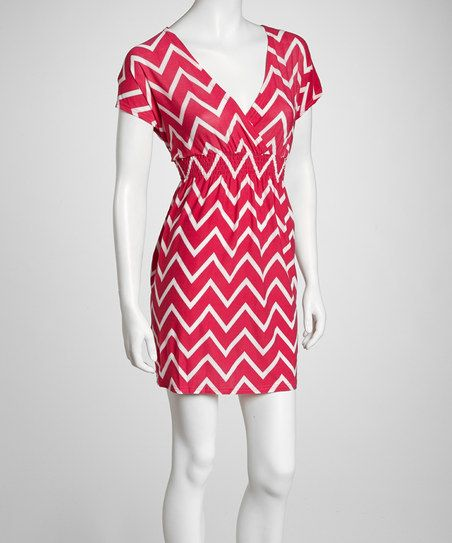 Fuchsia Zigzag Surplice Dress