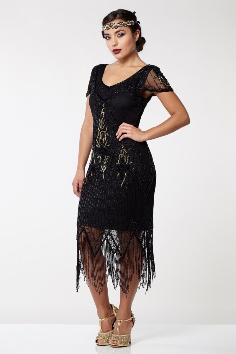 4faa4e49b5ac Flapper Style Fringe Party Dress in Black Gold | Roaring Twenties & Great  Gatsby Style Dresses | Art Deco & 1920s Inspired Gowns | Vintage | Gatsby  Lady