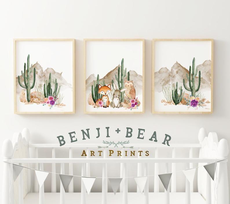 Boho Nursery Prints, Cactus Wall Art, Cactus Art P