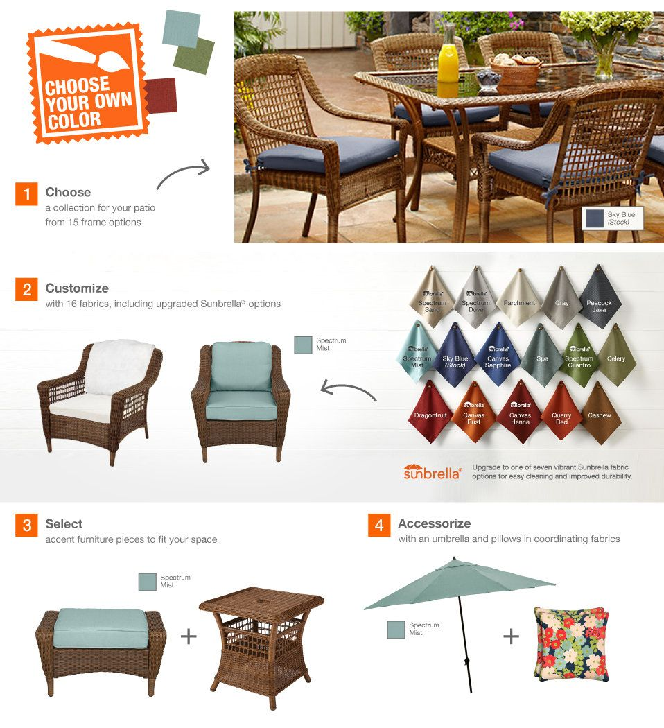 spring haven brown all weather wicker patio sofa new style of set hampton bay outdoor dining chair with sky blue cushion