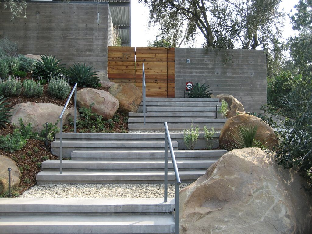 SB RESIDENCE in 2019 | Sloped garden, Landscape stairs ... on Inclined Backyard Ideas id=13516