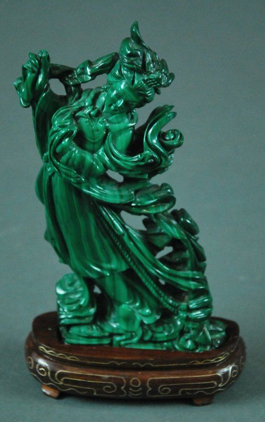 Chinese Carved Malachite Female Immortal The Maiden Stands
