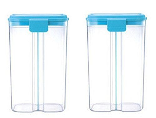 Tall Food Storage Containers With Locking Lids And Two Compartments,  Removable Divider Can Change Canister Size, 2 Pack