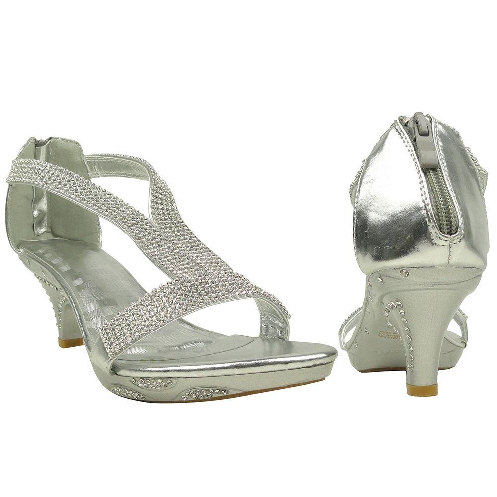 Little Girls Glamorous High Heel Sandals Embellished Double T ...
