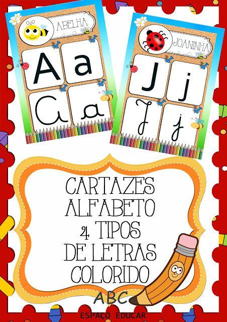 Conjunto Cartazes Do Alfabeto 4 Quatro Tipos De Letras Colorido