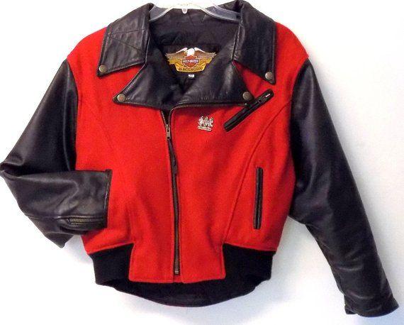 c10b7a4a8 90s Leather Motorcycle Jacket, Harley Davidson, Black & Red Varsity ...