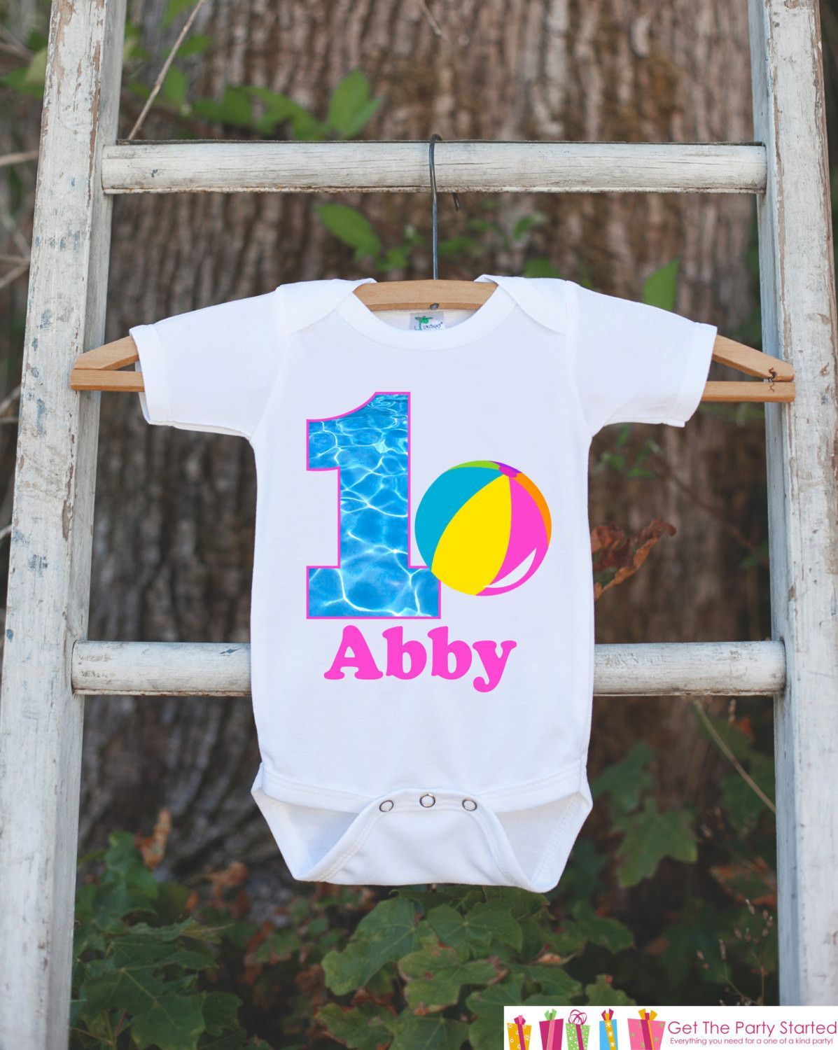 Pool Party Onepiece Bodysuit - First Birthday Bodysuit - Personalized Pool  Party Outfit with Baby Girl s Name and Age and Beach Ball 8943562c715b