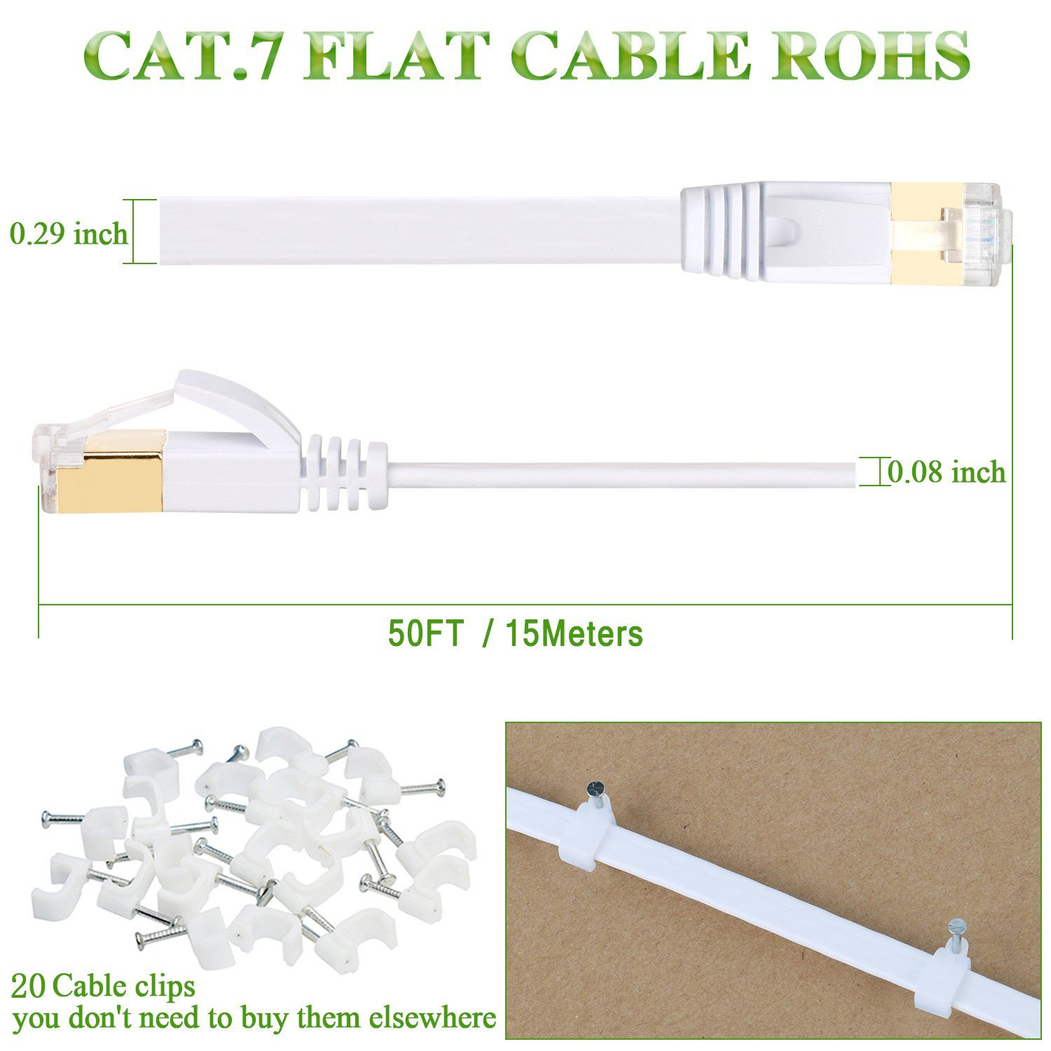 Cat7 Cable, 50 Ft Network Cable, Slim High Speed