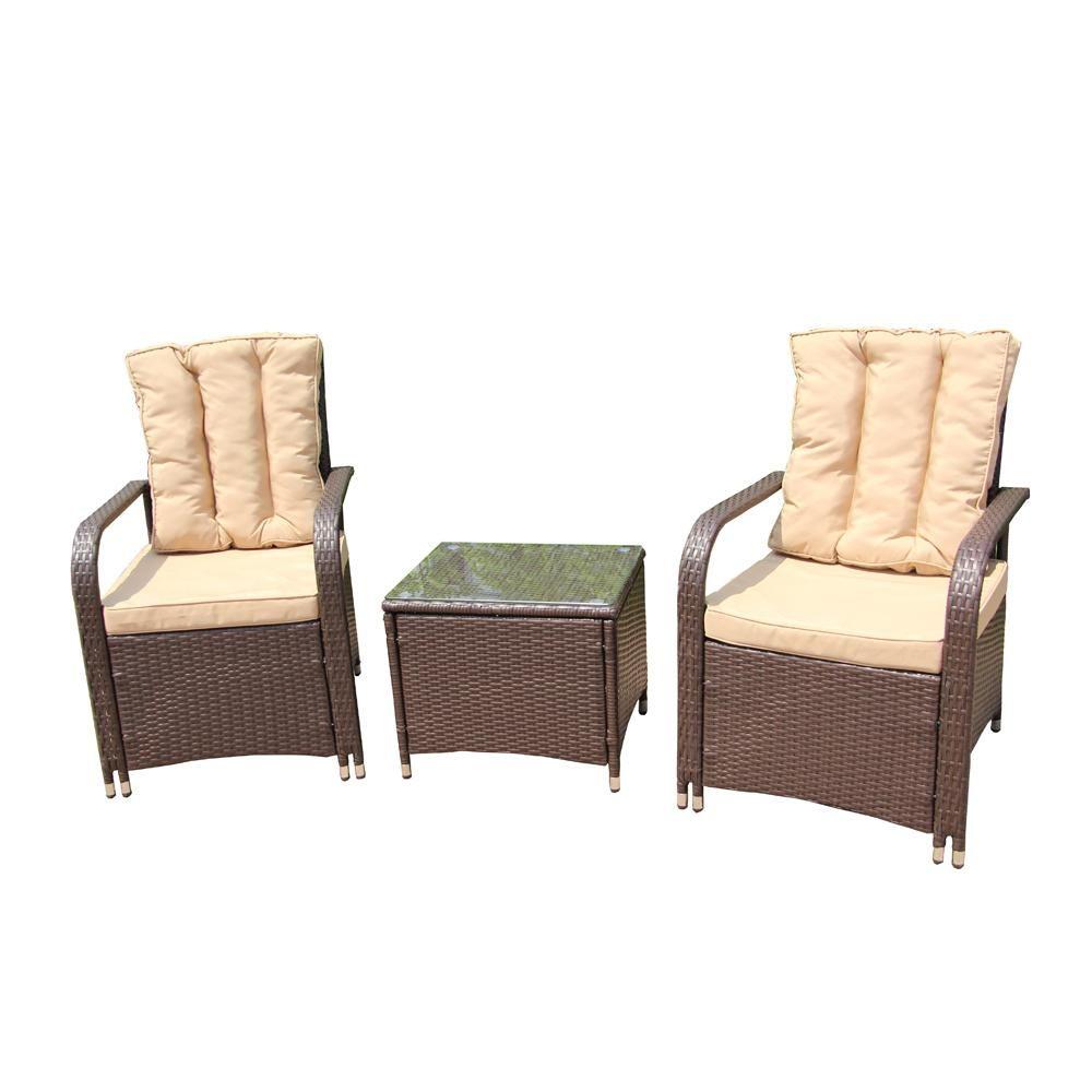 Aleko Brown 3 Piece Wicker Rattan Patio Conversation Set With Cream Cushions Rtf009br Hd Indoor Outdoor Furniture Rattan Furniture Set Outdoor Furniture