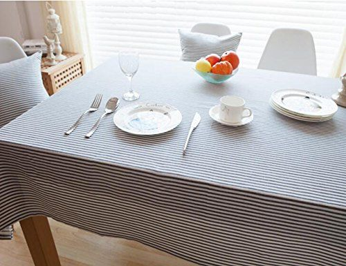 MeMoreCool Grey Pinstriped Simple Rectangular Table Cloth Multi Function  Dustproof Dining Table Cloth Cover