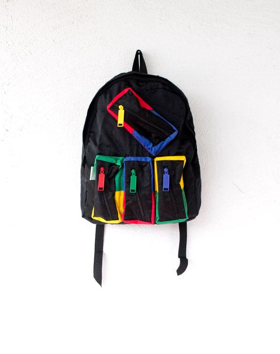 d63d36f5865 Vintage 90s United Colors of Benetton Black Backpack // Color Block ...