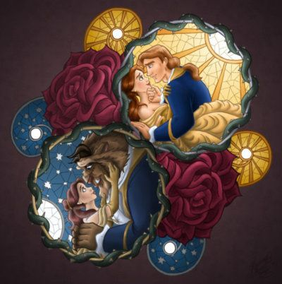 Belle et prince adam la belle et la b te disney - Peinture princesse disney ...