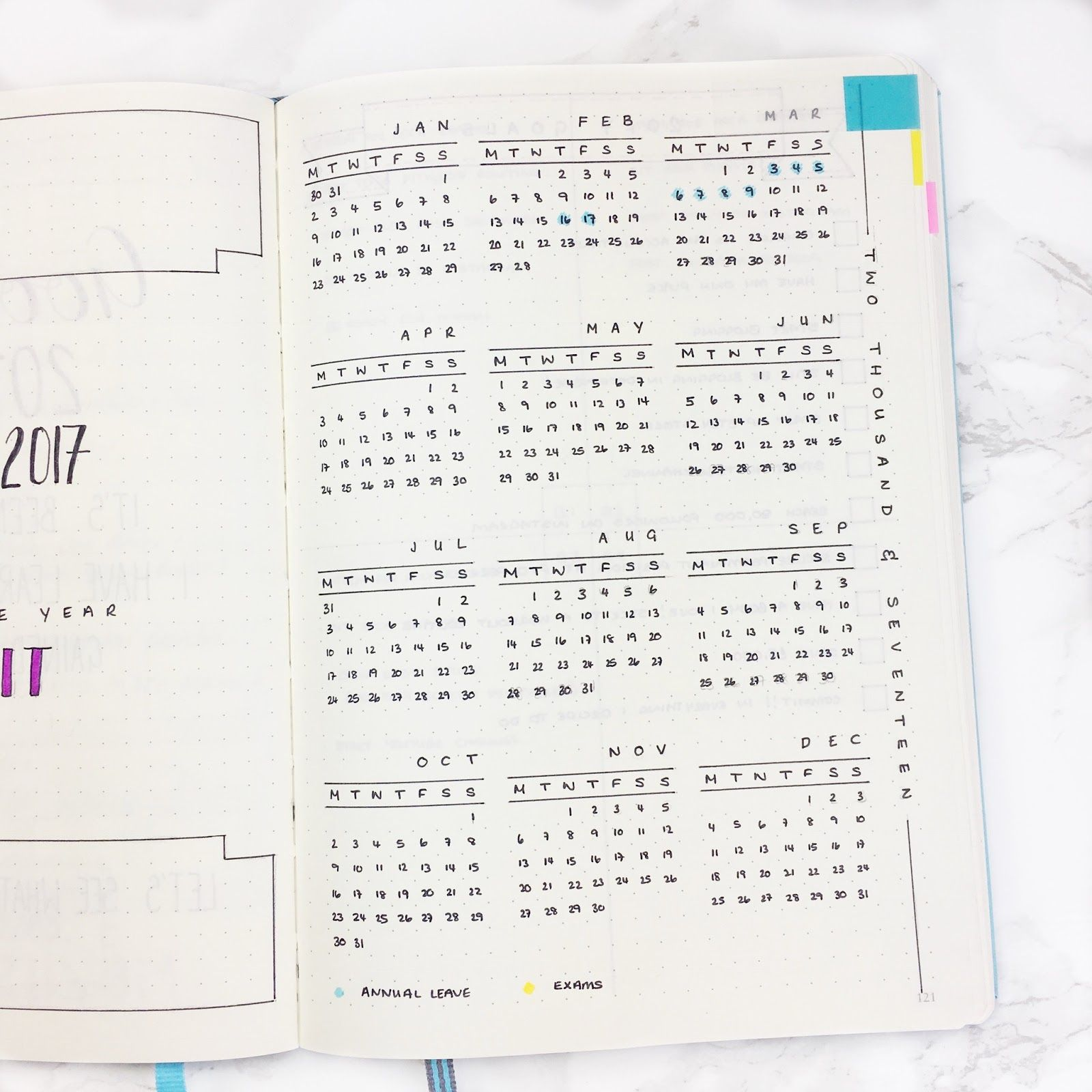 Bullet Journal Year at a Glance Template Journal