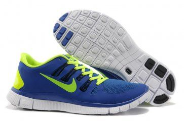Nike Free 5.0+ Womens Blue Fluorescence Green Running Shoes