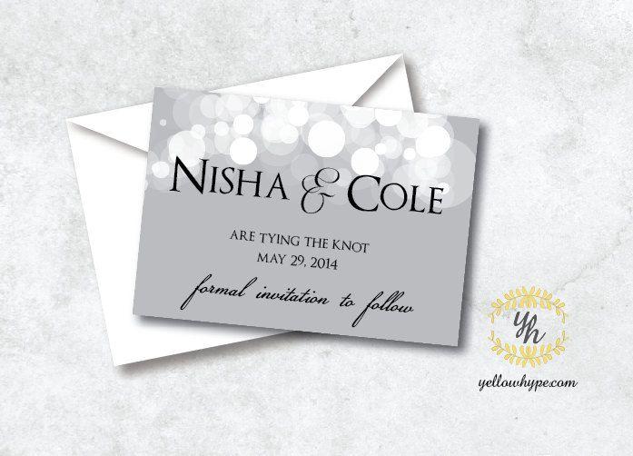 Digital Grey Lights Wedding Save the Date Invitation - Printable.via etsy