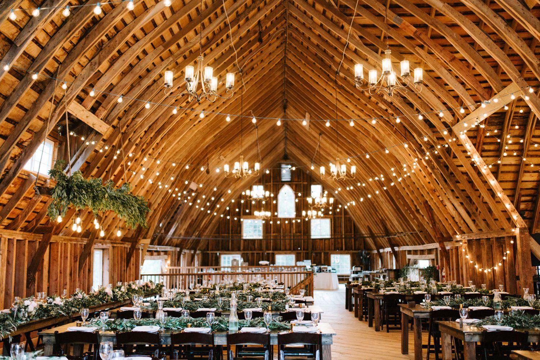 cafe lights inside barn Bloom Lake
