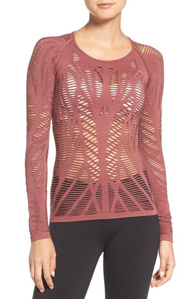 Free shipping and returns on Alo 'Wander' Cutout Tee at Nordstrom.com. Graphic mesh-like cutouts look futuristic while epitomizing ventilated comfort for this fitted-yet-easy-to-layer top.