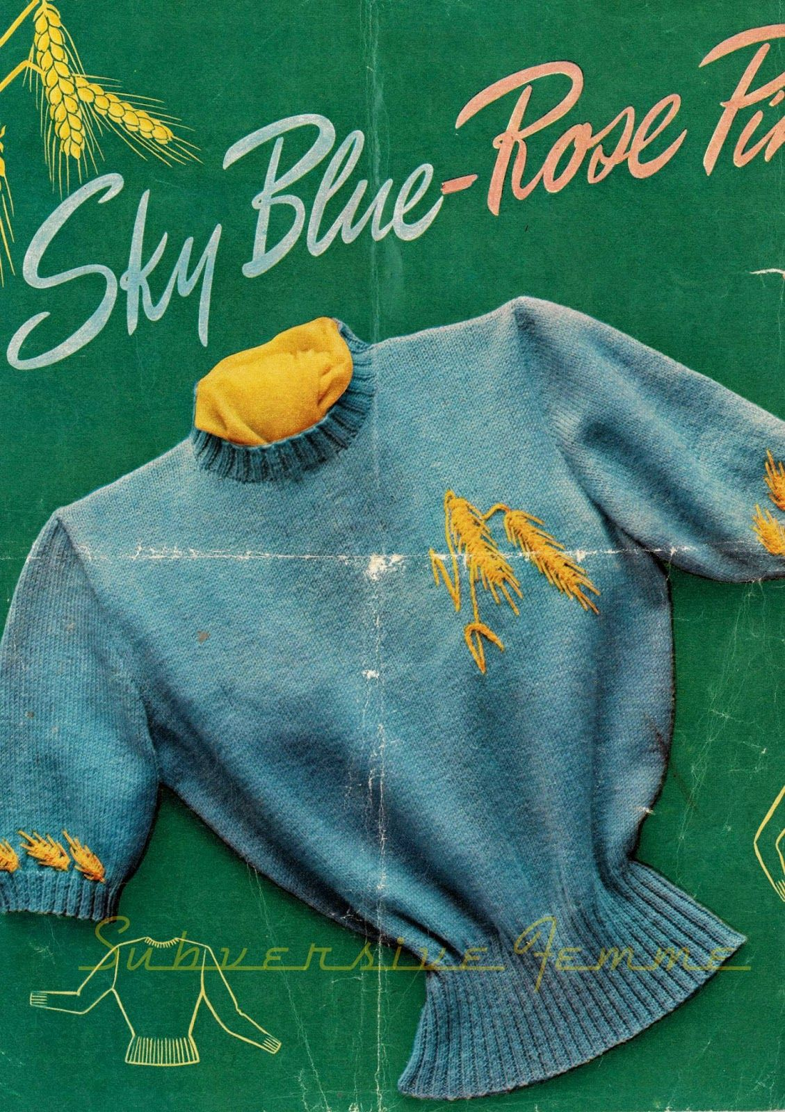 Novelty golden barley jumper c. 1950s | happy days are here again ...