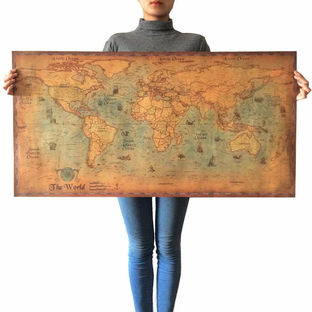 Vintage world map for home decor on kraft paper 2 sizes kraft vintage world map for home decor on kraft paper 2 sizes gumiabroncs Images