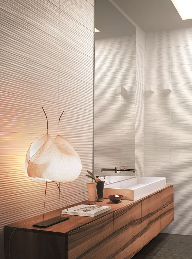 Indoor white paste wall tiles LUMINA by