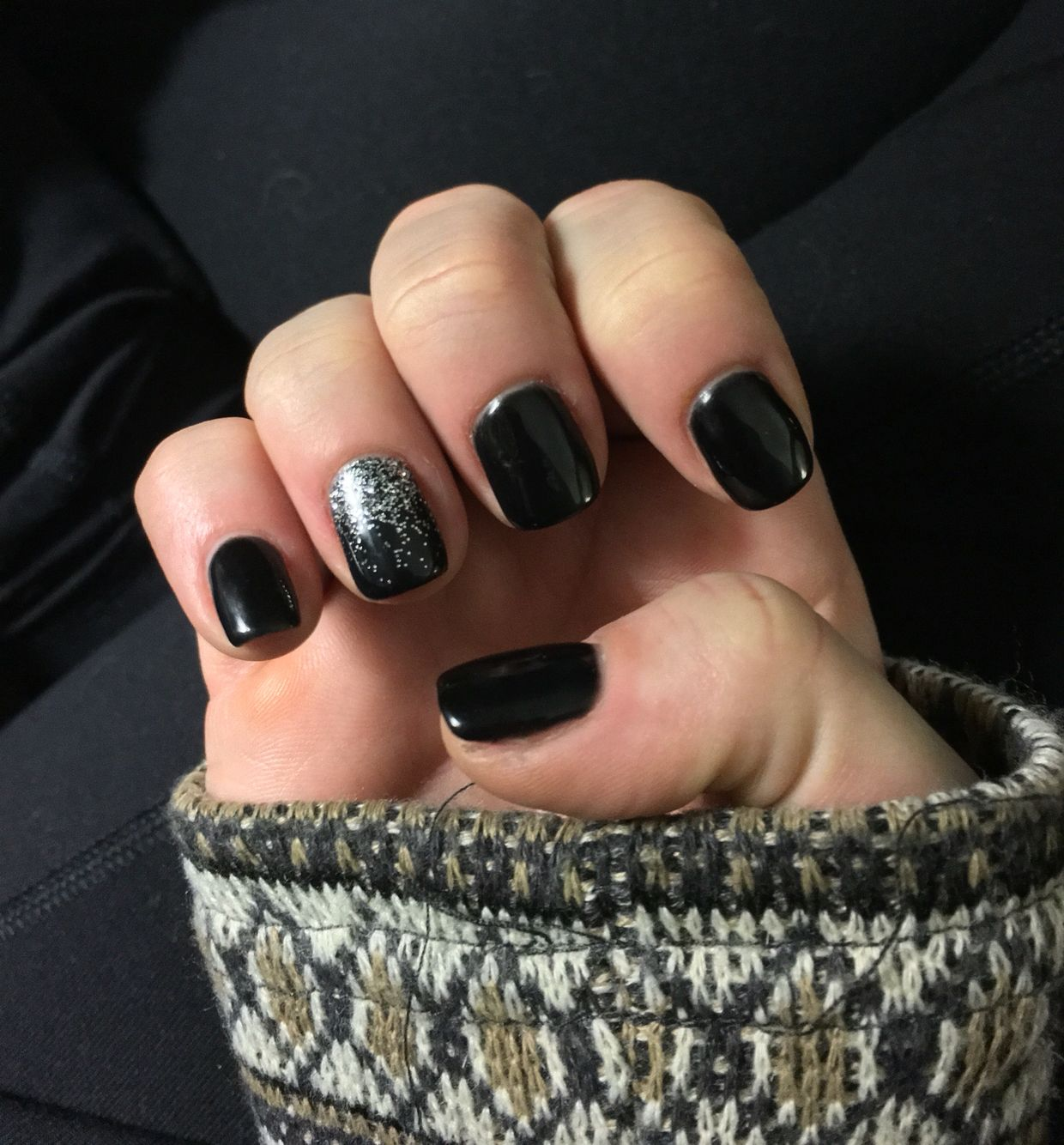 Black shellac nails with silver ombré accent nail inspired by a ...