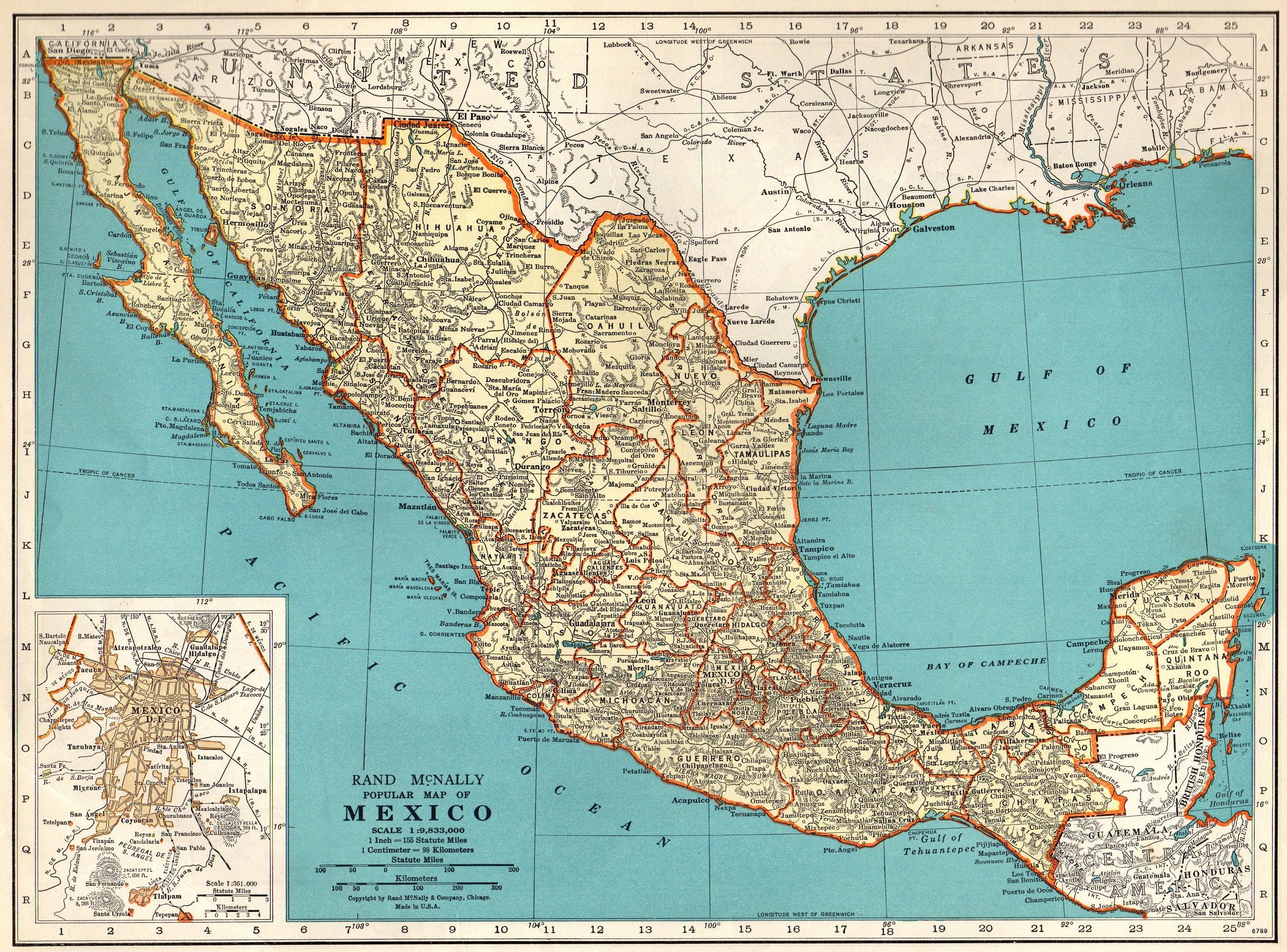tropic of cancer mexico map 1937 Vintage Mexico Map Antique Map Of Mexico Print Antique