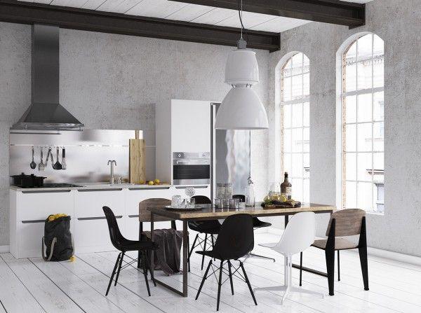 Design Scandinave Salle à Manger En Idées Inspirantes Mur - Table salle a manger beton cire pour idees de deco de cuisine