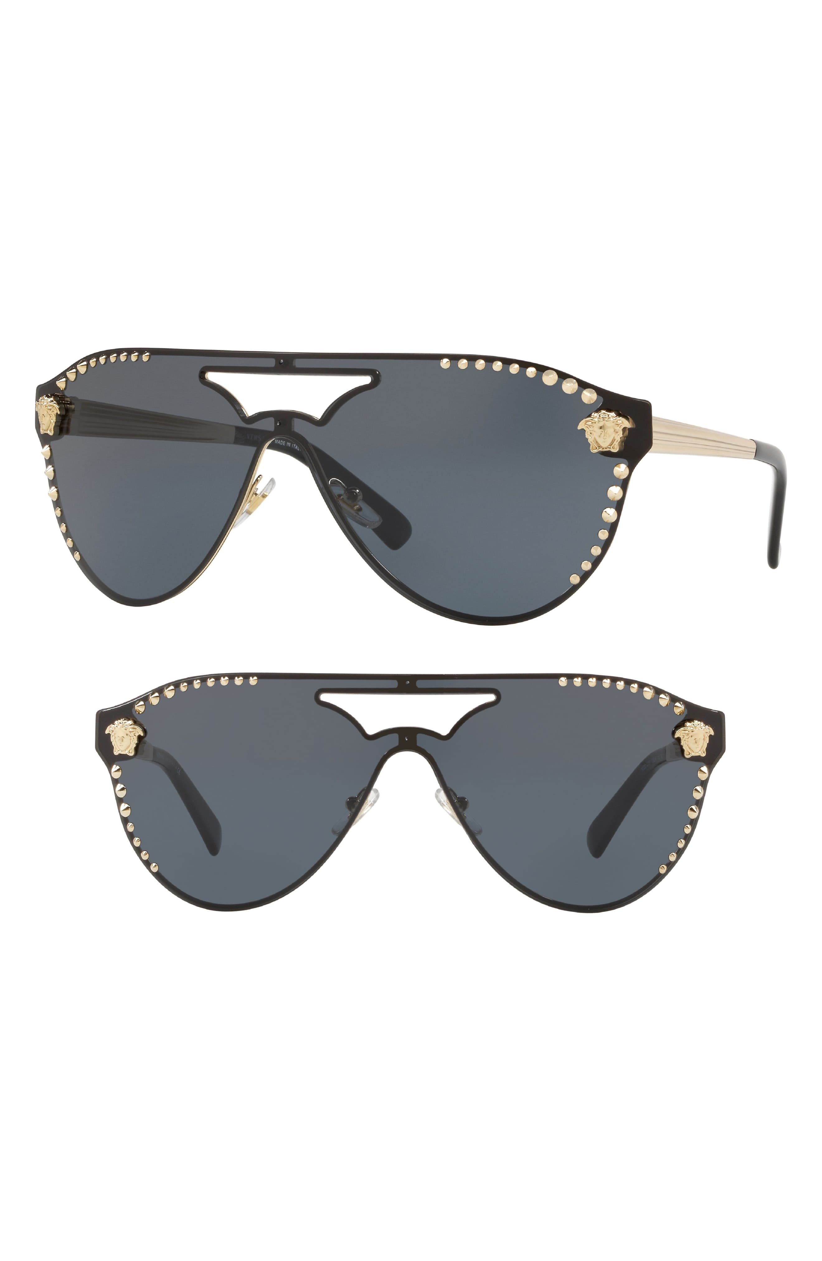 ef1ffca1fa49 Women's Versace 60Mm Shield Mirrored Sunglasses - Pale Gold Solid