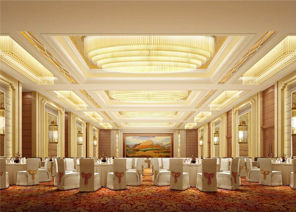 Five star hotel banquet hall with carpet five stars for Hotel ceiling design