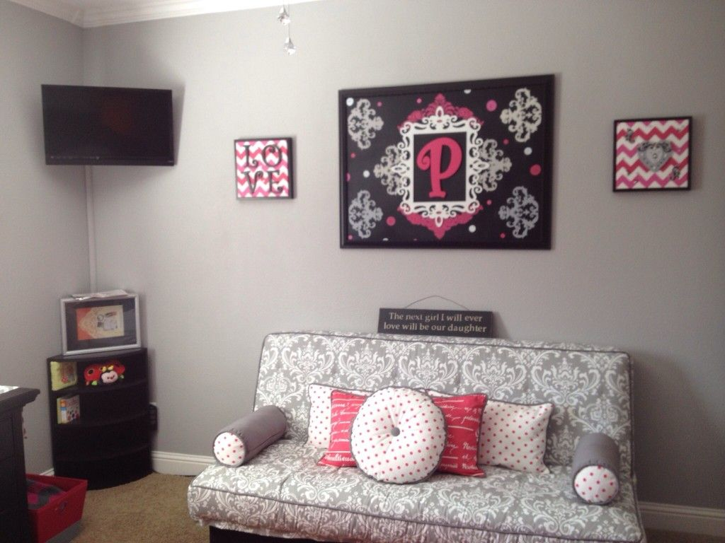 Project Nursery Custom Grey White And Pink Futon Cover Pillows I Love The Wall Decor