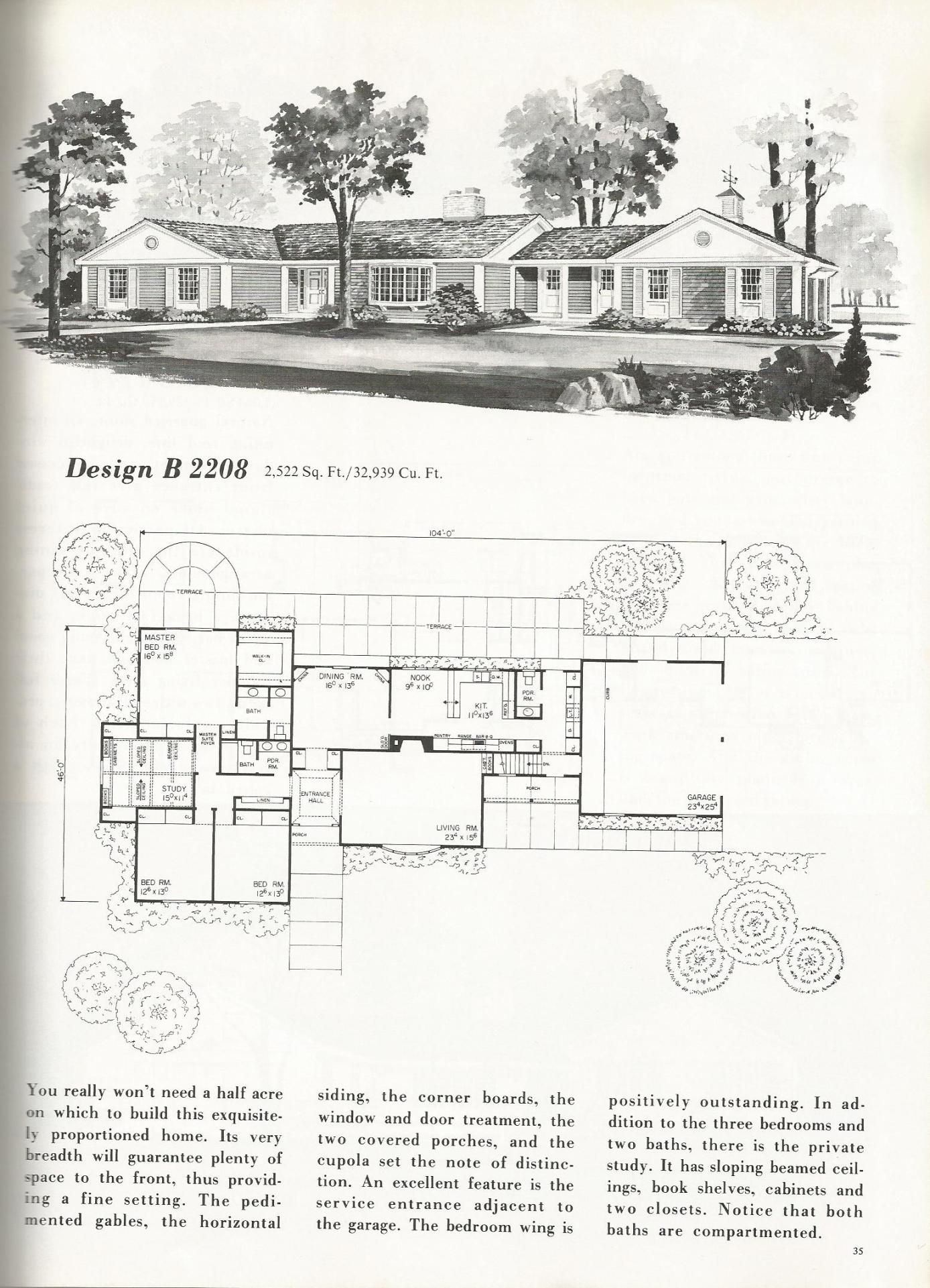 Vintage House Plans, mid century homes, homes over 2000 sq ...