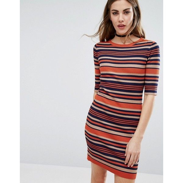 QED London Stripe Bodycon Dress (251.015 IDR) ❤ liked on Polyvore featuring dresses, multi, body conscious dress, half sleeve dresses, elbow sleeve dress, striped dress and round neck dress