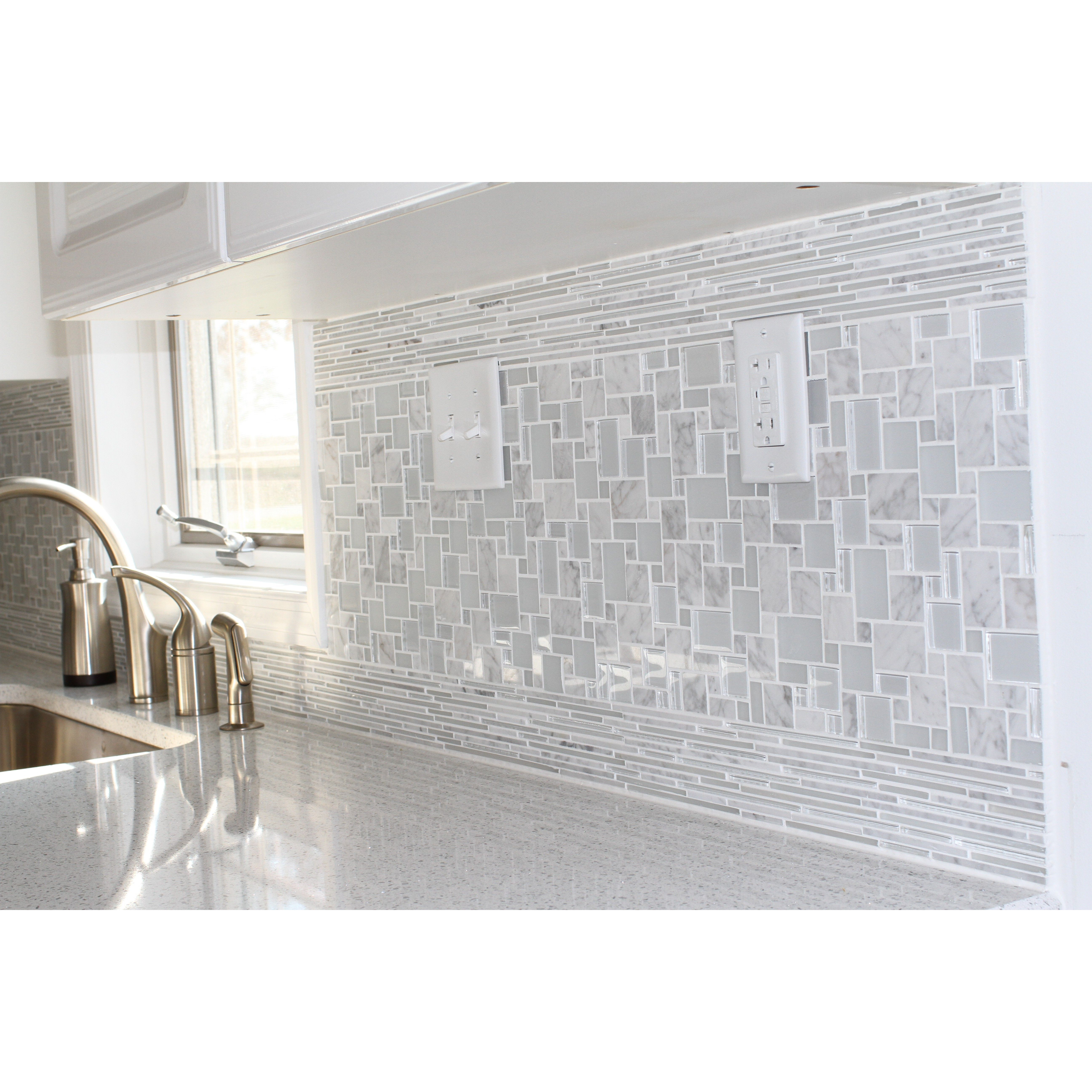 Shop for breeze carrera ice piazza pattern glass and marble mosaic shop for breeze carrera ice piazza pattern glass and marble mosaic tile at tilebar dailygadgetfo Images