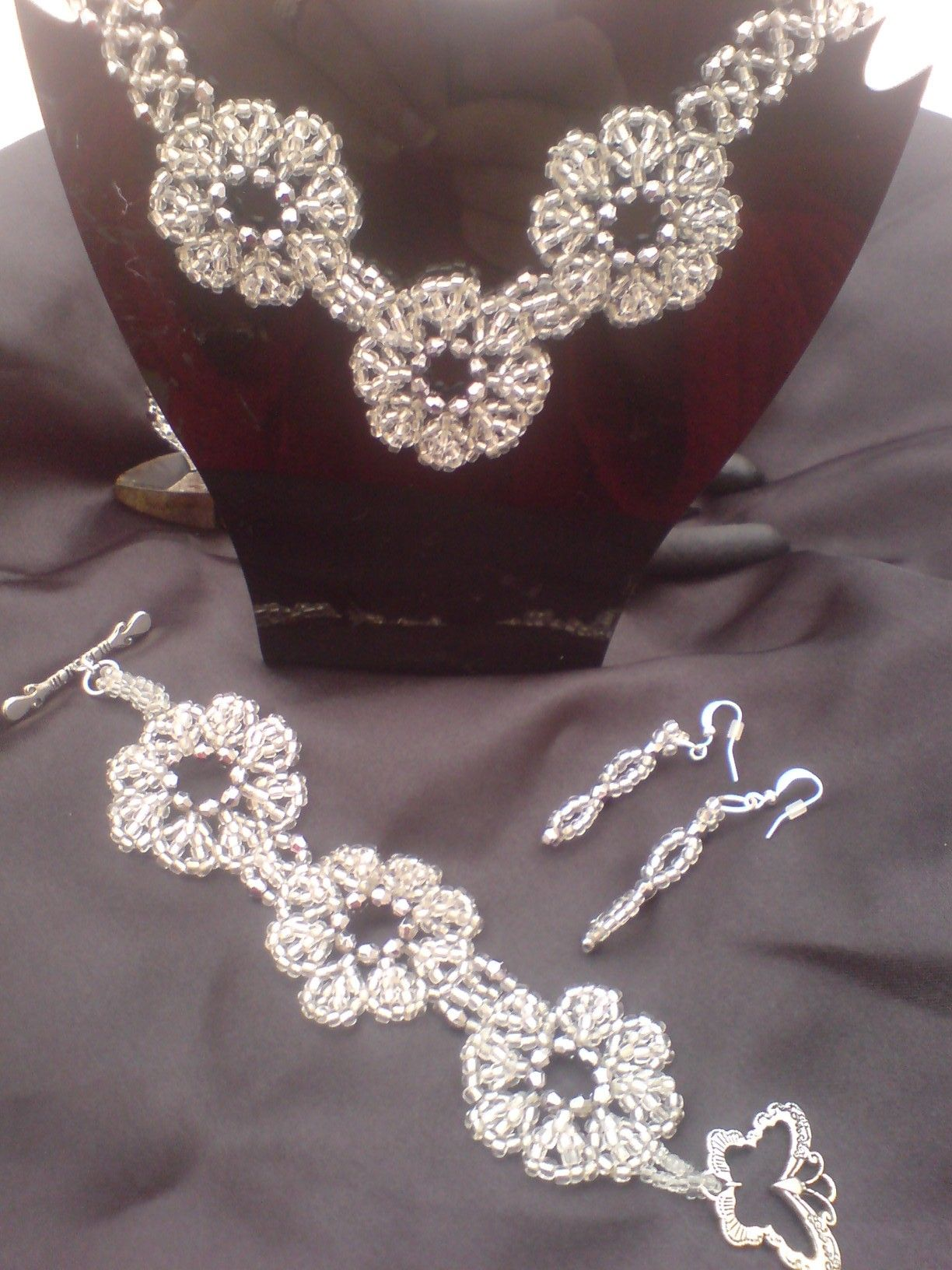 Woven Seed Bead Flower Necklace And Bracelet Set Flower