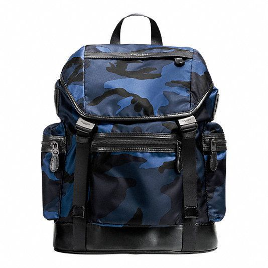 Coach Mens F72036 DYB Blue Trek Pack in Printed Nylon Backpack ...