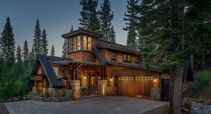 Exterior Modern Rustic Stone Wood Craftsman House Log Homes