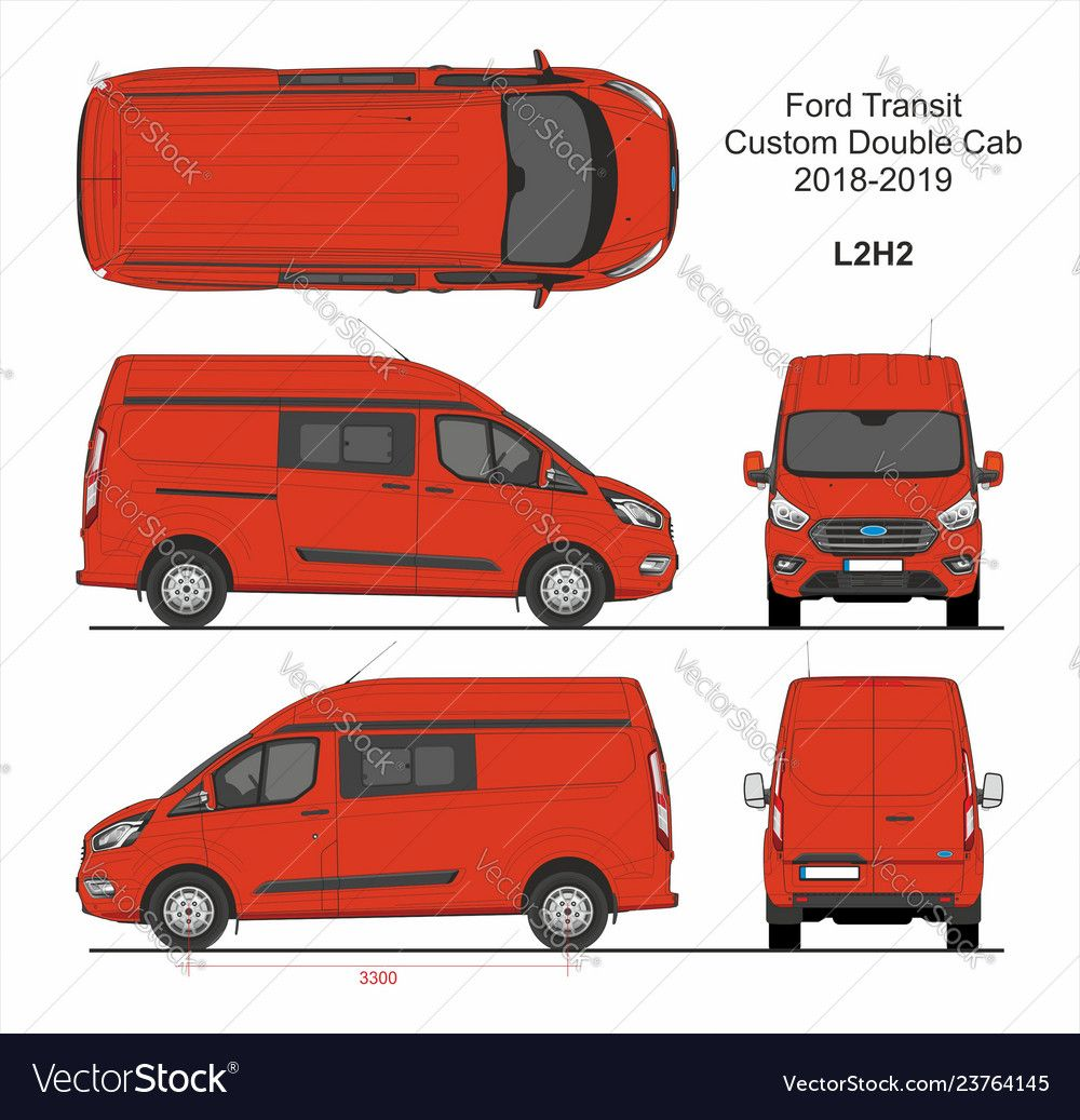 Ford Transit Custom Delivery Van L2h2 2018 2019 Vector Image Ad Delivery Van Custom Ford Ad Van Transit Custom Opel
