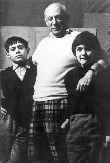 Pablo Picasso with his two children by his mistress Francoise ...
