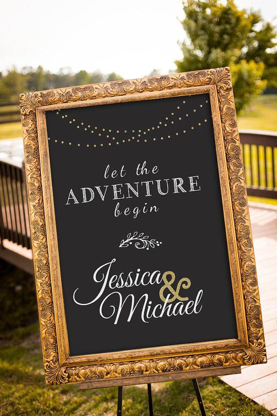 Gold Wedding Decor Black Party Gatsby Chalkboard Sign